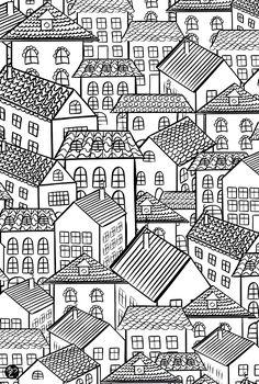 Galerie de coloriages gratuits coloriage-architecture-village-toits.