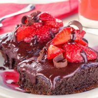 Chocolate Cake with Chocolate Strawberry Sauce