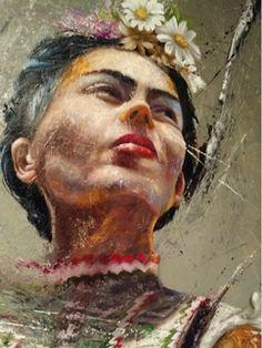 NOT Lita Cabellut artwork! | 'FRIDA KAHLO', by artist Ricardo Alemán (Mexican).