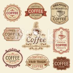 Hand Drawn Vintage Coffee Labels royalty-free stock vector art