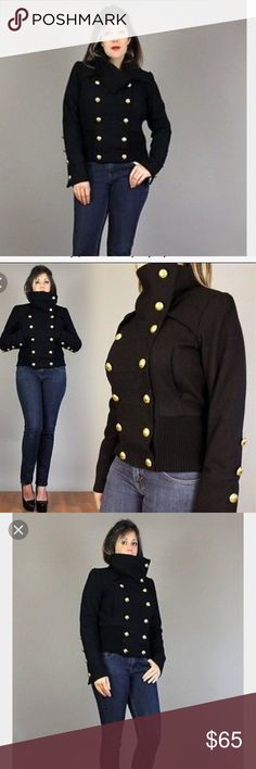 Baby Phat military funnel neck bomber wool jacket Jacket by Baby phat by Kimora lee Simmons! Only worn a couple times, like new condition! This is a heavy - super warm coat size Large. Gold buttons. Double breasted. Silk leopard lining. Ribbed bottom. Size Large Baby Phat Jackets & Coats