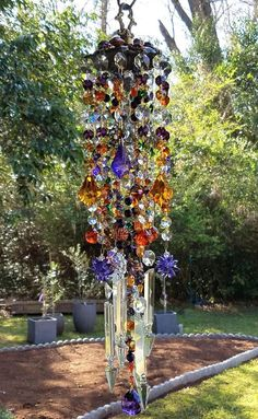 Antique Jeweled Bohemian Crystal Wind Chime Purple Topaz
