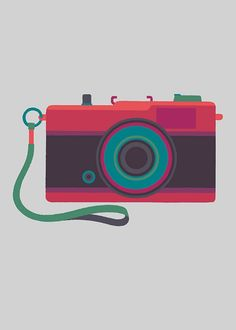 Olympus Trip - print by Adrian Johnson Leica, Adrian Johnson, Camera Illustration, Illustration Styles, Photography Illustration, Olympus Trip, Camera Art, Camera Icon, Classic Camera