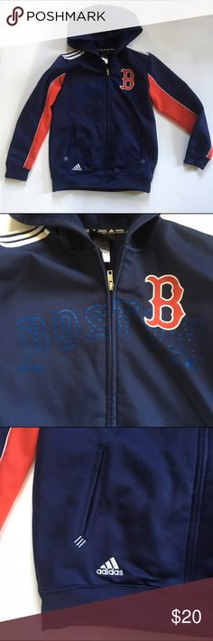 🆕 Addidas Boston Red Sox Hoodie Sweatshirt Boston Red Sox officially licensed gear. Embroidered B and screen printed Boston Red Sox logo. 100% Poly with soft fleece interior Climawear by Addidas. Full zip. 2 pockets. Size Youth Medium 10-12. Minor piling. No other flaws! Very Good condition.                                                        Use the BUNDLE feature for discount.                                      SHOP with confidence 🌟 5 STAR ratings Most items SHIP NEXT DAY. Adidas…