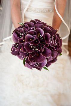 Dark Purple Calla Lily Bridal Bouquet