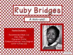 Ruby Bridges Mini-Unit Freebie from Joy in the Journey on TeachersNotebook.com (8 pages)  - Looking for a FUN and ENGAGING mini-unit on brave and courageous Ruby Brides, a 6-year-old African American girl who paved the way for desegregation in public schools in the South. FREE 8-page packet
