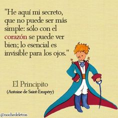 "This phrase from ""The Little Prince"" book by Antoine de Saint- Exupéry shows that material things are not the most important. Dreams come first than achievements. Book Quotes, Me Quotes, Famous Quotes, Qoutes, St Exupery, The Little Prince, More Than Words, Spanish Quotes, Wise Words"