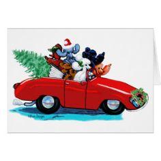 Poodles Christmas Vintage Car Art Print Card