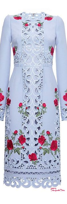 Dolce & Gabbana Fall 2015 Long Sleeve Intaglio And Rose Embroidered Sheath Dress ♔THD♔