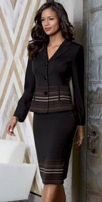 Beyond the Border suit from Monroe and Main. Flattering princess seams bring a touch of femininity to this classic power suit, while the subtle striping adds pure polish. Suits You, Suits For Women, Ladies Suits, Beyond The Border, Princess Seam, Skirt Suit, Work Attire, Peplum Dress, Feminine
