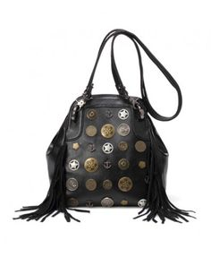 Black Fringe Bag with Metal Charms Embellishment