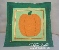 No-sew felt pumpkin pillow for fall is easy to make.  Instructions by Phyllis Dobbs on Fabulously Fall blog hop. www.phyllisdobbs.info