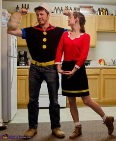 Coolest homemade popeye and olive oyl costumes costumes popeye and olive oyl 2013 halloween costume contest solutioingenieria Choice Image