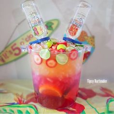 Tropical Rum Punch is your classic bomb punch style beverage but with a large twist. With this you get a giant bucket of constantly flowing liquor. Yes!
