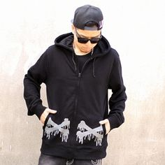 XXXXL hip hop hoodies zip design for men bones black sweatshirt