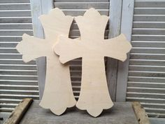 Set Of Two Unfinished Wood Crosses Crafting Supplies Unpainted Crosses…