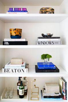 incorporate your bar into a bookshelf to save space | domino.com
