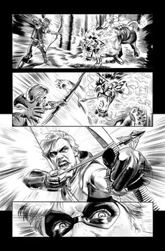Green Arrow 7 Page 17 B+W art by ~mikemayhew on deviantART