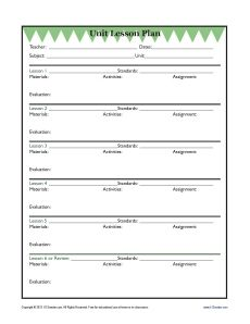 Daily Single Subject Lesson Plan Template With Grid  Elementary