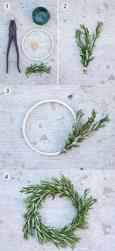 DIY Rosemary Wreath from www.theprettyblog.com