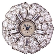 Cartier Diamond Watch Brooch, France, 1930s