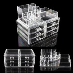 big size Makeup Case ACRYLIC Clear Cosmetic Organiser Display Box Acrylic Makeup storage 6 Drawers + Top Section