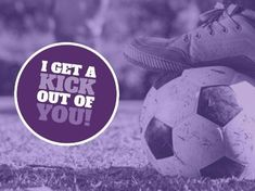 A purple funny Football template with an image of a ball and a circle with white and purple text. A Funny, Hilarious, Football Template, Funny Football, Soccer Ball, Kicks, Funny Quotes, Jokes, Purple
