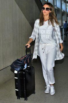 Jessica Alba, grey-silver monochramic outfit.