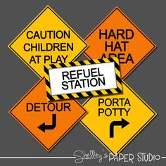 Construction Birthday  Road Signs by shelleyspaperstudio on Etsy, $4.00