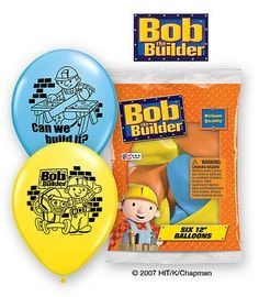 """6 pc 12"""" Bob the Builder Party Latex Balloons Happy Birthday PBS Can We Build It"""