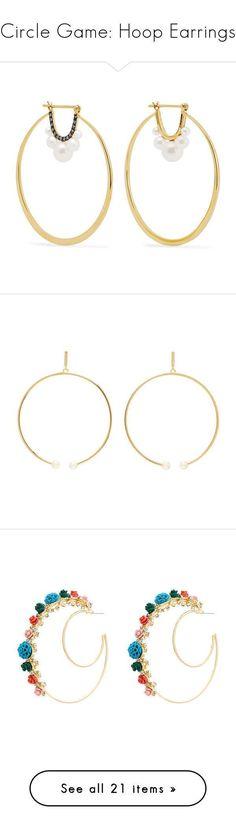 """Circle Game: Hoop Earrings"" by polyvore-editorial ❤ liked on Polyvore featuring hoopearrings, jewelry, earrings, diamond earrings, 18k diamond earrings, cultured pearl earrings, diamond jewellery, post back earrings, gold and chloe jewellery #GoldJewelleryPosts"