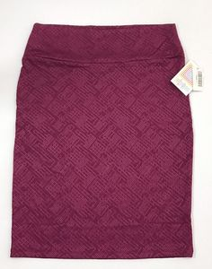 NEW Lularoe Cassie Stretch Pencil Skirt Size LARGE Solid Plum Embossed Print    eBay
