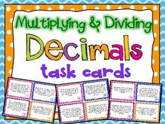 A set of 32 multiplying and dividing decimals task cards for your students to practice their decimal computation skills! You can use these in math centers, to play SCOOT!, or any other way that might be useful to help your students! Dividing Decimals, Multiplying Decimals, Math Fractions, Percents, Maths, Sixth Grade Math, Math Task Cards, Math Intervention, Math Classroom