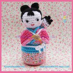 Japanese Kokeshi mother and baby Amigurumi Crochet Pattern by HandmadeKitty. $5.99, via Etsy.