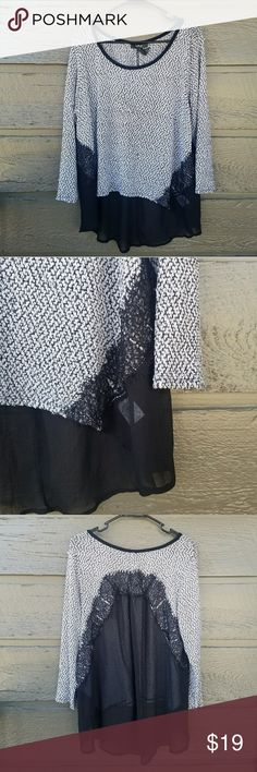 Plus Style&Co Black and White Lace Sheer Back Top Excellent condition  Feel free to ask me any additional questions! Reasonable offers are considered. No trades, or modeling. Happy Poshing! Style & Co Tops