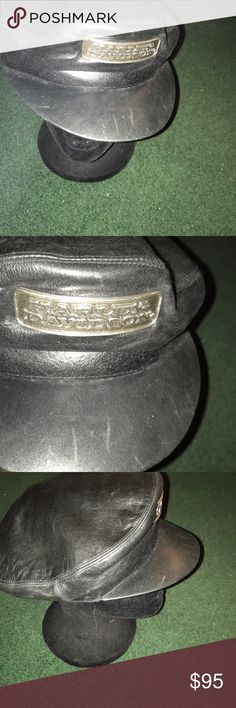 Harley Davidson leather cap Collectors item. Genuine Leather captains hat. Matted silver emblem on front. Front bib with minor surface scratches. Clean lining. Stylish & cool gear Harley-Davidson Accessories Hats