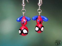 Spiderman inspired french hook earrings. $17.00, via Etsy.