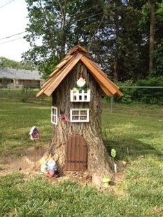 My gnome home.  Still needs window boxes and maybe a mailbox.