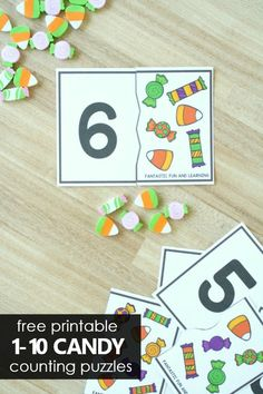 With these free printable candy counting puzzles preschoolers and kindergarteners can practice number recognition and counting sets for Halloween math. Halloween Candy Crafts, Halloween Theme Preschool, Halloween Math, Fall Preschool, Halloween Themes, Halloween Books For Kids, Preschool Centers, Numbers Preschool, Preschool Learning Activities