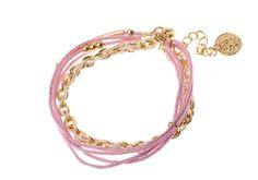 Bracelet chaîne Majique  Cordelette rose pêle Piece/médaillon dorée Finition dorée Longueur réglable  http://www.majiquejewellery.fr/summer-2014-collection/bracelets/fb32222-61631.aspx