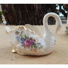 Lenox Ivory Vintage Rose Paddle Foot Swan Trinket Dish with Blue Green... ($35) ❤ liked on Polyvore featuring home, home decor, small item storage, aqua home decor, vintage home decor, lenox, aqua home accessories and vintage home accessories