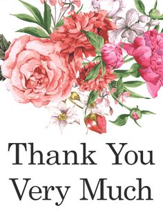 Pink Flower Thank You Card Birthday Greeting Cards By Davia