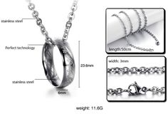 Silver Ring Titanium Stainless Steel Necklace