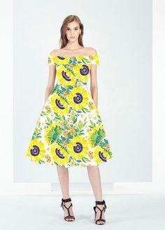 433e6d40df79 Vintage Boat Neck Yellow Floral Retro Hepburn Style 50 s Dress