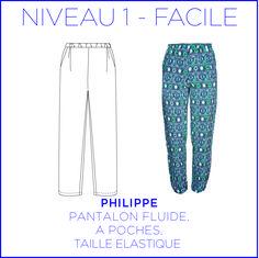 Patron - Pantalon Philippe, Pantalon large et fluide, patron à taille réelle du 36 au 46. : Patrons par coralie-bijasson