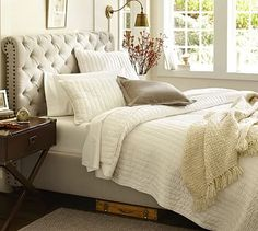 Chesterfield Upholstered Bed & Headboard #potterybarn Denim/warm white $1649 washed linen/cotton -slightly darker $1849