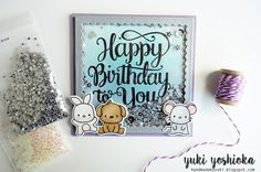 """Happy Birthday to You"" shaker card by Handmade by Yuki 