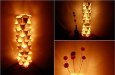 Lamp of Paper Cups. How to: http://www.shelterness.com/very-original-diy-lamp-of-paper-cups/#