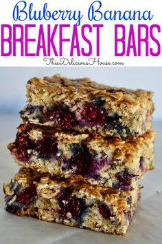 Your new favorite way to use up ripe bananas! This healthy and simple recipe for Blueberry Banana Oat Bars is so easy and tasty. Make ahead and have a delicious and healthful breakfast or snack at any time. #bananaoatbars #blueberrybanana
