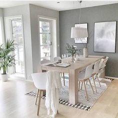 Room Interior Design, Dining Room Design, Design Room, Dining Rooms, Gray Interior, Dining Tables, Grey Dinning Room, Dining Area, Simple Interior
